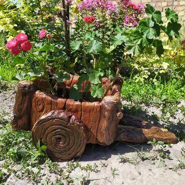 Горшки для растений - Кыргызстан: Вазоны для цветов из арт бетона в виде телеги