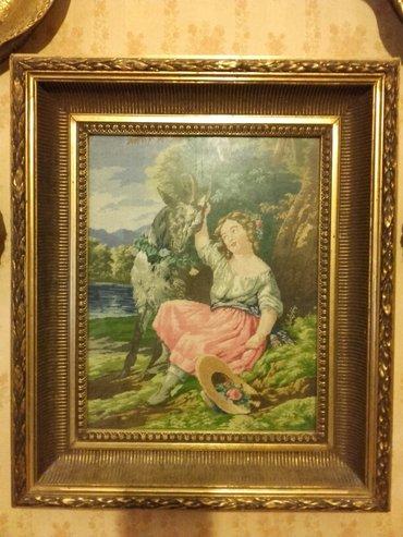 Devojka - Srbija: Vilerov goblen,devojcica sa jarcem,sitan bod,dimenzije su 35×28