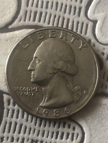 Монета 25 центов США Quarter Dollar  Перевёртыш 1986 года