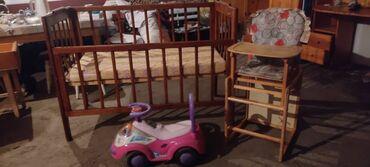 Детская кроватка с матрасом, стульчик для кормления 3 в 1. Машинка в