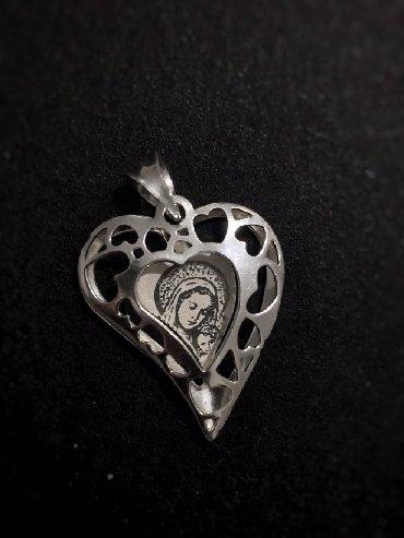 Religijski nakit - Srbija: Srebrna ogrlica sa Bogorodicom Lanac je kao kod ogrlice sa potkovicom