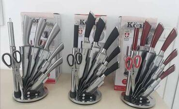 Noževi | Srbija: Konig noževi u stalku Dostupno 5 modela: crni obični, crni peskirani