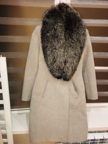 Пальто с натуральным мехом(лиса)