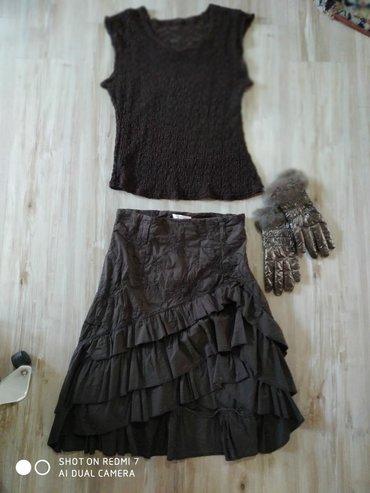 Cipkana bluza - Srbija: Komplet suknja i bluzica za leto, braon boje, dimenzije su na slikama