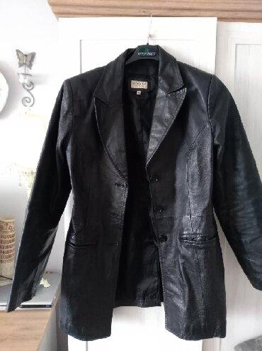 Kozne rukavice - Srbija: Kao nova crna duza jakna od prave koze Hennes, strukirana velicina 40