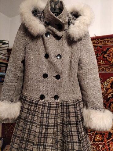 Пальто, подростковое, для девочки приталенное р-р 44, мех на рукавах