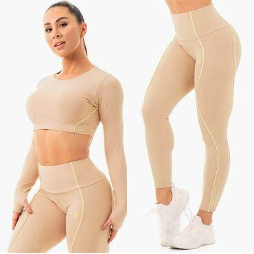 Женская одежда для фитнеса. Комплект Леггинсы+болеро. Размер S.M