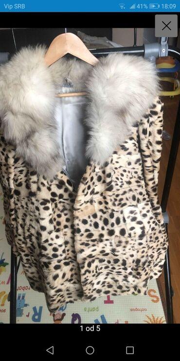 Bunda od nerca i polarne lisice 38Moderna nova bunda od raznobojnog