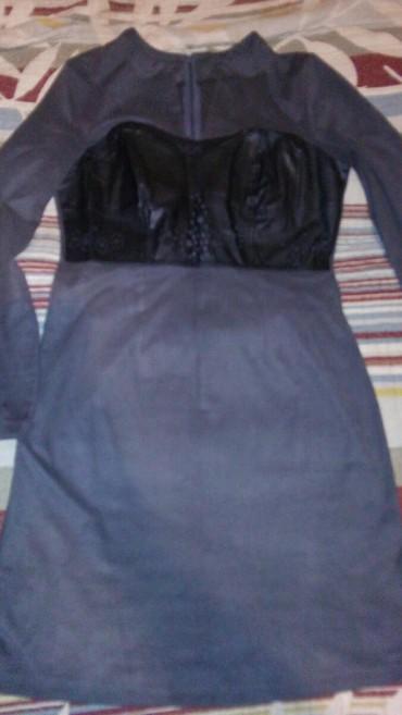 прихожая под заказ в Азербайджан: Платье под велюр с кожаной вставкой.M-L