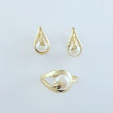 жёлтый комплект в Кыргызстан: Комплект из жёлтого золота 585проба. размер кольца 17 и 17.5.вставка