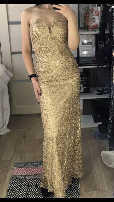 золотое платье в пол в Кыргызстан: Продаю новое платье в пол Рост модели 170