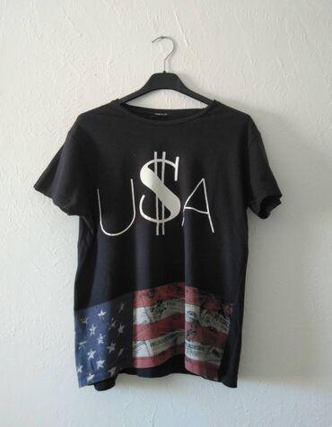 HM Crna washed majica sa američkom zastavom, pazuh 48, duzina 63