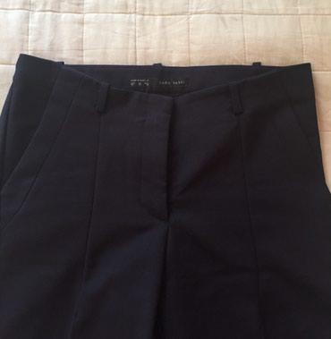 женские-брюки-новые в Азербайджан: ZARA, брюки женские, как новые, тёмно-синего цвета, S/M