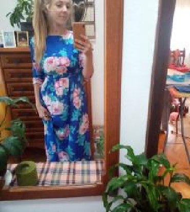 Haljine   Ivanjica: Maksi, duga, letnja, cvetna HALJINA, divne azurno plave osnove