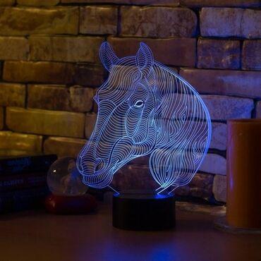 ХИТ ПРОДАЖ3D Светильник меняющая в виде лошадкиОтличный подарок для