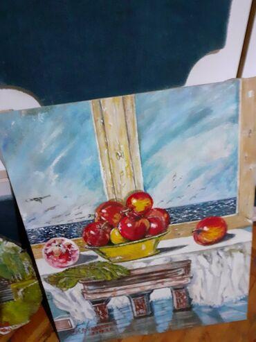 Slike na platnu - Srbija: Slika,Plodovi leta,, ulje na platnu