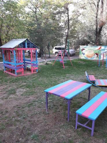 скамейки качалки в Кыргызстан: Игровой Комплекс Для Детского Сада. Домик-беседка(внутри столик и две