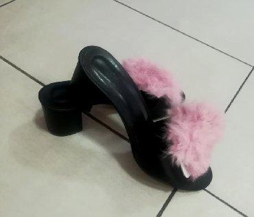 Papuče sa prirodnim zečijim krznom Novo Br 38 Štikla 4 cm