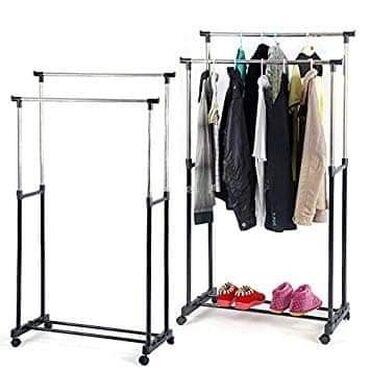 Dupli stalak za odecu nosivosti do 30kg,lak za montažu, ima točkiće
