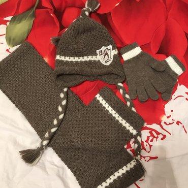 Зимняя шапка , шарф , перчатки. Комплект 👍 Состояние идеальное - новог в Бишкек