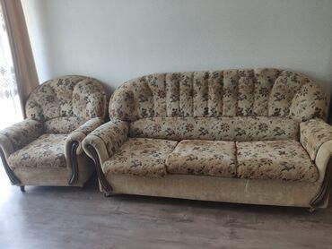 Диваны - Кыргызстан: Продаю диван с двумя креслами от Lina. Состояние отличное. Подушки не