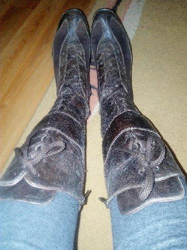 Ženska obuća | Gornji Milanovac: Zenske cizme, kombinacija koza, prevrnuta koze, bez ostecenja