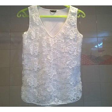 Μπλουζάκι λευκό με δαντέλα Massimo Dutti - Μέγεθος S - 100% cotton