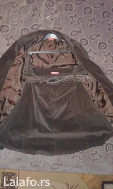 Sako-osomota-braon-boje - Srbija: Komplet sako i suknja braon boje, br 38, malo nosen; neki br. S