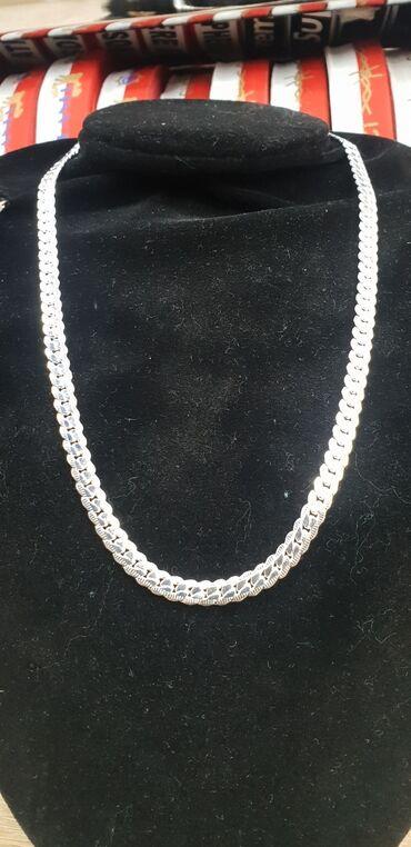 Цепочка нержавеющая сталь покрытая серебром есть проба 925 Длина 50см