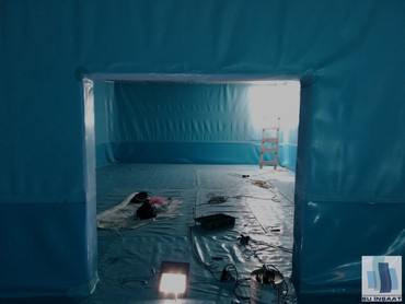 Bakı şəhərində İçməli su depolarının mavi pvc membranla izolyasiyası.