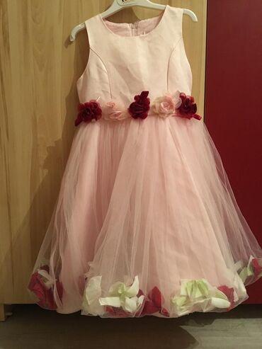 Детский мир - Александровка: Очень нежное розовое платье с лепестками роз Размер: на 4-5 лет