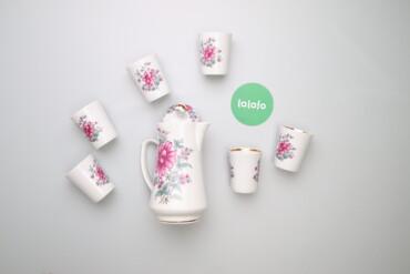 Кухонные принадлежности - Украина: Чайний сервіз з квітковим принтом, заварник та 6 чашок     Стан гарний