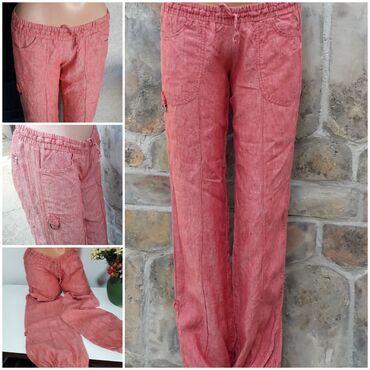 Pantalone legendu - Srbija: Legend lanene letnje pantalone vel 30Lan 100%,boja koralno crvena