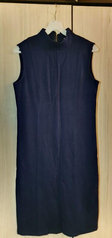 женская платья размер 44 в Кыргызстан: Женское платье! 44-46 размер! Б/у. Синий цвет!