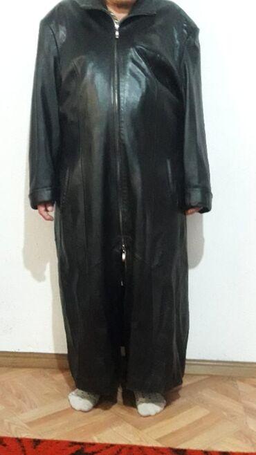Чистая кожа!Кожаный длинный женский плащ Отличное качество /Размер