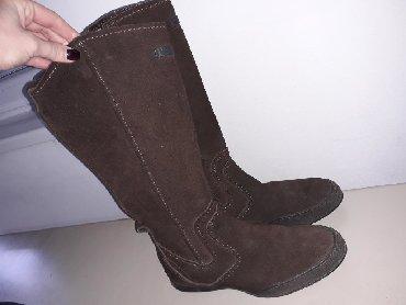 Pantalonice braon - Srbija: Kozne cizme 36 br (kao nove)Cizme su malo nosene,bez maneTamno braon
