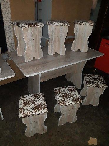стол на кухню раскладной в Кыргызстан: Стол 6шт табуретка 4500+доставка Дилина стола 1,35см ширина 75см Стол