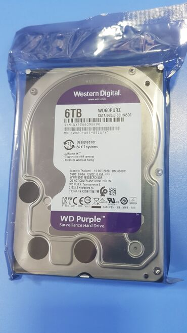 диски vossen r13 в Кыргызстан: Жесткий диск WD60PURX 6000Gb Western Digital HDD 6TB(терабайт)