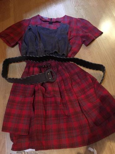 Tunika moze kao haljinica nova,ima prsluk odozgo i kais.Sivo crvena - Novi Pazar