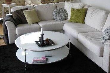 Σπίτι & Κήπος - Ελλαδα: ΧΑΜΗΛΟ ΤΡΑΠΕΖΙ ΜΕΣΗΣ, Στρογγυλό τραπεζι STRIND IKEA με λευκό γυαλι