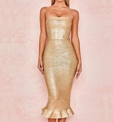 Prelepa zlatna Herve Leger haljina. Nosena jednom, bukvalno kao nova