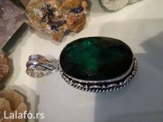 Privezak srebro - Srbija: Privezak srebro green quartz ili zeleni kvarcvrlo lepe tamno zelene
