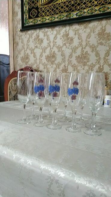фужеры стекло в Кыргызстан: Фужеры 10 штук чешское стекло 650 сом