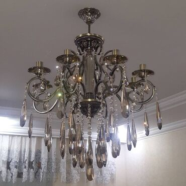 Дом и сад - Дюбенди: 8 lampa uzun xrustal daşla