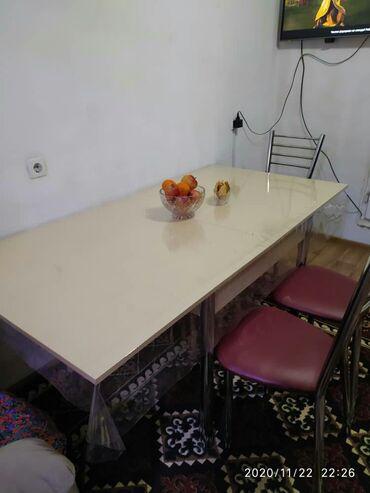 кухонный стол стулья в Кыргызстан: Продаю кухонный мебель стол и 6шт стулья длина180 ширина 90 состояние