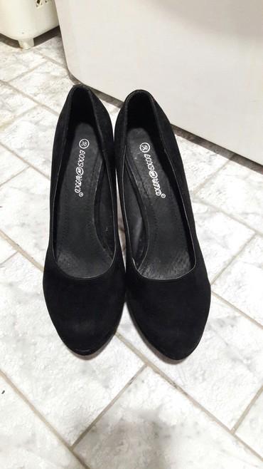 Ženska obuća | Novi Becej: Cipele na platformu od velura, broj 38, malo nosene, bez ostecenja