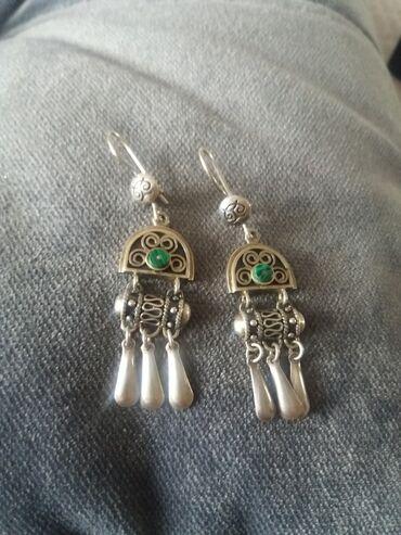 Келдике серьги серебро с малахит