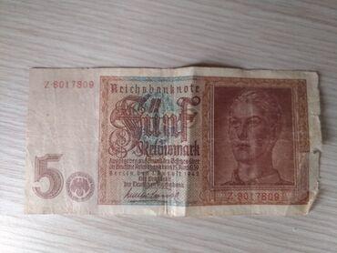 5 nemackih maraka(reichmark) iz 1942 godine. Ocuvane nemacke novcanice
