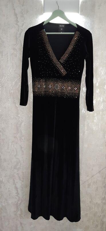 черное длинное платье в Кыргызстан: Платье вечернее, длинное, чёрный бархат. Турция. Дорого