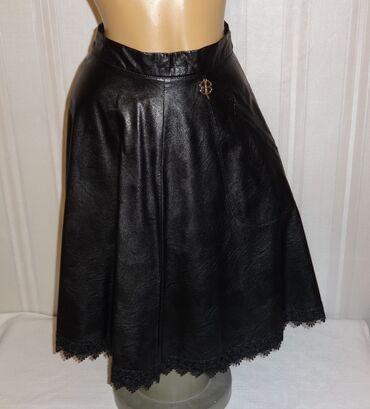 Кожаная модная юбка S шикарная высшего качества талия 64 см с декором